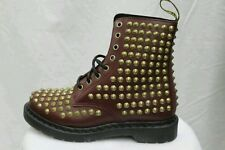NEW DR MARTENS Spike Women Studded Cherry Red Smooth Leather Boots US 9 UK7 EU41