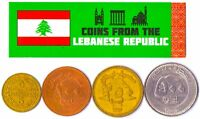 4 LEBANESE COINS DIFFERENT ARAB COLLECTIBLE COINS FOREIGN CURRENCY