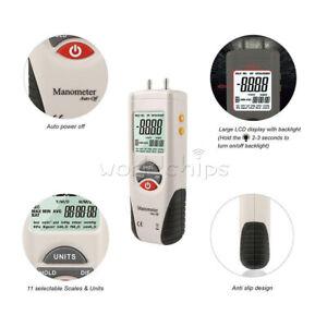HT-1890 Handheld Digital Manometer Differential Gauge Air Pressure Meter 11Units