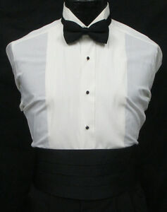 Men's Ivory Tuxedo Shirt Wing Collar Pleated Front Off-White Bone Formal