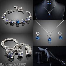 Swarovski Element Set Silber Blau HalsKette Ohrschmuck Armband Geschenk Etui 327