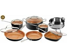 Gotham Steel Cookware Set Non Stick Pot and Pan Strainer w/ Lids 12 Piece