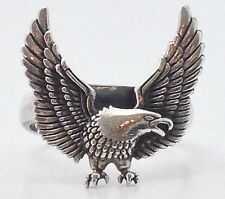 MENS BIKER HARLEY AMERICAN EAGLE WING STERLING SILVER 925 RING FREE SIZE 9 10 11