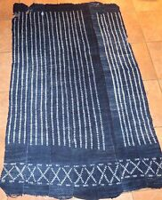 """Vintage African,Dogon Indigo Resist Dyed Fabric/Hand Woven Cotton Strips/60""""x38"""""""