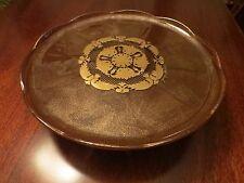 Georges Briard Pedestal Cake Plate Stand Mid Century Modern Brown Gold Vintage