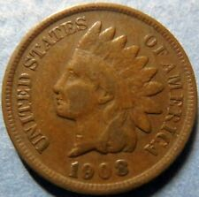 *1908  INDIAN  HEAD  BRONZE  PENNY, Nice Details Philadelphia Mint Coin  #5