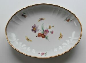 KPM Berlin Porcelain Gold Edge Oval Bowl/ Dish with Flowers & Insects Rocaille ?
