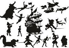 Die Cut Outs Silhouette Peter Pan Hook Ship Fairy 20 x set Shapes scrapbook