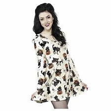 Womens Long Sleeve Black Cat Pumpkin Halloween Retro Vintage Style Costume Dress