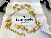 Kate Spade New Gold Bow Scatter Skinny Mini Necklace NWT Rare
