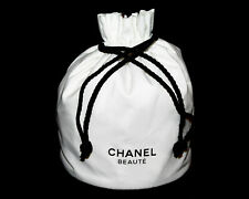 CHANEL BEAUTE Drawstring Fabric Cosmetic Ditty Beauty Bag White