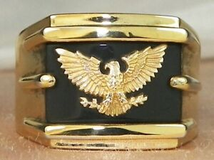 Men's American Eagle 14k Gold Over Sterling Silver Onyx Band Fine Ring-Size 7.75