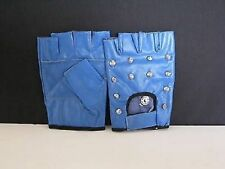 BLUE STUDDED LEATHER FINGERLESS GLOVES - SIZE EXTRA LARGE