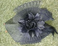 Ladies Black Fascinator Hat Sinamay with Flower & Bow Headband Or Clip Brand New