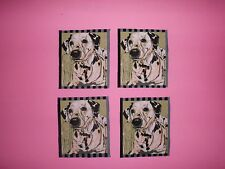 DALMATION,hard to get,SET of 4 PATCHES DOG PUPPY,QUILT FABRIC PANEL BLOCKS