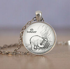 Vintage Bear Cabochon Tibetan silver Glass Chain Pendant Necklace jewelry New
