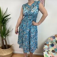 True Vintage 60's 70's Blue Abstract Pattern Sheer Dress Sz 8 10