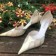 Dune Euro 37 UK 4 - Pointed Animal Skin Detail Embellished D'Orsay Neutral Beige
