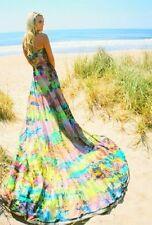 New Bohemian Beach Silk Wedding Dress Gown  Chapel Train Turquoise Pink 2 4 6 8