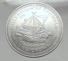 1979 ISLE of MAN Millenium of TYNWALD Silver Crown Coin Man-o-war SHIP i63553