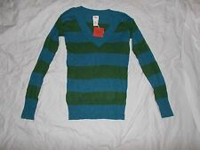 NEW WITH TAGS WOMEN'S MOSSIMO V- NECK LONG SLEEVE STRIPED PULLOVER SIZE SMALL