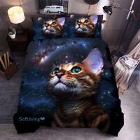 Cute Cat Single/Double/Queen/King Bed Quilt Doona Duvet Cover Set Linen
