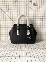 Michael Kors Charlotte Large Satchel Smooth Leather Crossbody Bag Black/Gold