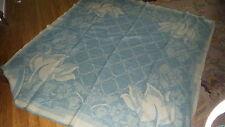 "Antique All Wool ORR HEALTH BLANKET Holland Tulip Blue Design 80""x74"""