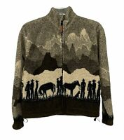 Vintage Cowboy & Horses Ranch Winter Fleece Pullover Shirt/Jacket Mens sz XS