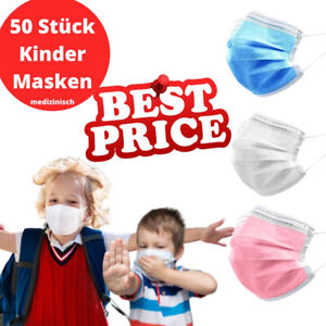 50 Stück farbige Kinder Gesicht Schutz-Masken Mundschutz-Maske 3 Lagig Einweg
