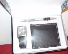 NEW Concepts Executive Gift Set: Quartz Watch, Wallet & Ballpoint Pen BLACK
