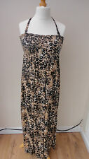 Black/beige Animalprint Halterneck George Maxi Sundress Padded Cups Size 14
