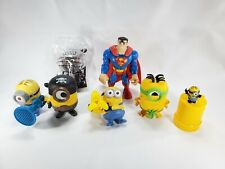 "Lot Of 8 Minions Toys from 6"" to 1""+ Super Man, And Talking Tom New"