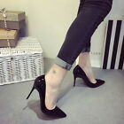 Ladies Patent leather Mid High Heels Pointed Toe Work Pumps Shoes UK1-6