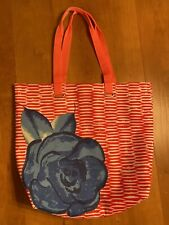 Lancome Orange & White with Blue Flower Travel Tote Bag NWNT