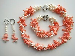 3 Row White Freshwater Pearl & Pink Coral Gem Necklace  Bracelet Earrings Set.