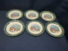 Thomson Pottery Snowman Dessert/Salad Plates Green Set of 6 NICE