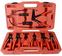 UK New 9PC Hose Clamp Clip Plier Set Swivel Jaw Flat Angled Band Automotive Tool