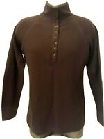Duluth Trading Co Brown Men's Large Brown 1/4 front Button Up Long Sleeve Cotton
