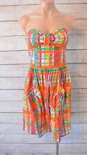 ZIMMERMANN Dress Sz Small 6 8 orange green yellow strapless fit flare skater