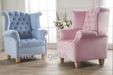 Bespoke Lola Velvet Wing Chair Armchair High Back Chair Button