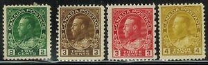 Canada #107-110 1918-23 MLH/Mint No Gum(108)