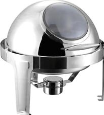 ROUND CHAFING DISH WITH fiber GLASS FRONT 5 LITER POLISHED STAINLESS STEEL