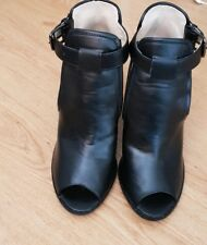 RED HERRING HIGH BLOCK HEEL BLACK LEATHER CUT OUT ANKLE SHOE BOOTS 5UK/38 EUR