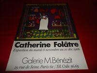 AFFICHE DU PEINTRE CATHERINE FOLATRE.BOUCHERIE CHEVALINE.GALERIE BENEZIT.1966