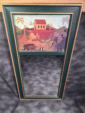 Antique Noah'S Ark Mirror Framed Print Wall Hanging Home Decor Green Gold Bible