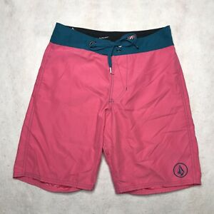 Volcom Mens Pure Function Cinch Fly Board Shorts Pink Blue Pocket 30