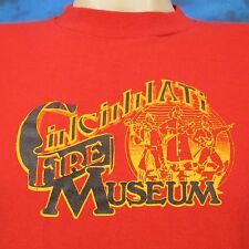 vintage 80s CINCINNATI FIRE MUSEUM T-Shirt SMALL ohio fighter department thin