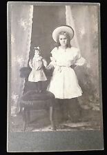 ADORABLE YOUNG GIRL HOLDING DOLL TOY STANDING PRETTY HAT CABINET CARD PHOTO 2303