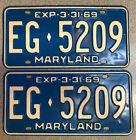 Maryland 1969 License Plate Pair # EG•5209
